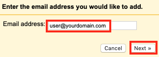 Type in the email address you want to set up