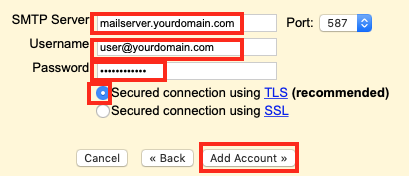 fill in your SMTP Server details